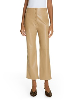 Nanushka Sora Faux Leather Crop Flare Pants