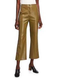 Nanushka Sora Vegan Leather Button-Front Cropped Pants