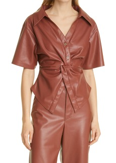 Nanushka Thora Twist Front Faux Leather Top