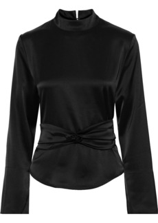 Nanushka Woman Almond Belted Satin Blouse Black