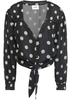 Nanushka Woman Amulet Polka-dot Crinkled-georgette Blouse Black