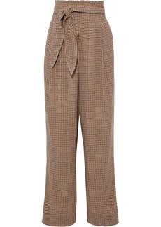 Nanushka Woman Belted Checked Woven Wide-leg Pants Beige