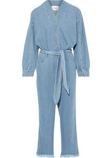 Nanushka Woman Belted Denim Jumpsuit Mid Denim