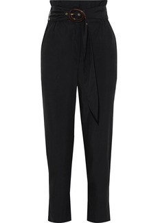 Nanushka Woman Natchez Belted Poplin Straight-leg Pants Black