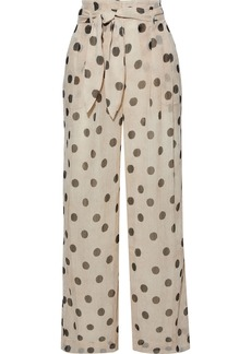 Nanushka Woman Nevada Belted Polka-dot Georgette Wide-leg Pants Cream