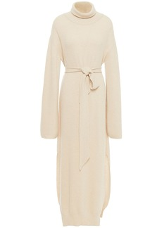 Nanushka Woman Belted Ribbed-knit Turtleneck Maxi Dress Cream