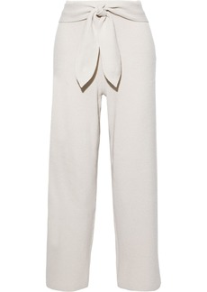 Nanushka Woman Tigre Tie-front Ribbed-knit Track Pants Cream
