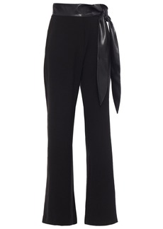 Nanushka Woman Cecilia Knotted Vegan Leather-trimmed Crepe Flared Pants Black