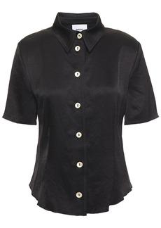 Nanushka Woman Crinkled-satin Shirt Black