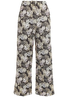 Nanushka Woman Varsaro Cropped Floral-jacquard Wide-leg Pants Black