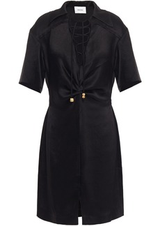 Nanushka Woman Etta Lace-up Crinkled Washed-satin Shirt Dress Black