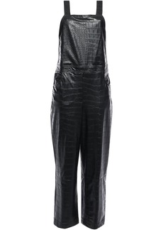 Nanushka Woman Frank Croc-effect Vegan Leather Jumpsuit Black