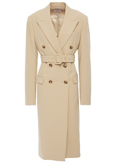 Nanushka Woman Greta Double-breasted Belted Crepe Coat Beige