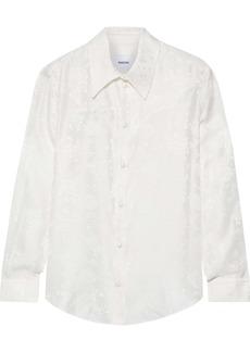 Nanushka Woman Maddy Floral Silk-jacquard Shirt White