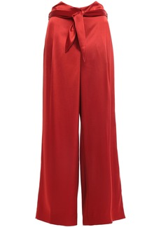 Nanushka Woman Marie Belted Satin Wide-leg Pants Red