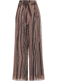 Nanushka Woman Nevada Belted Georgette Wide-leg Pants Light Brown