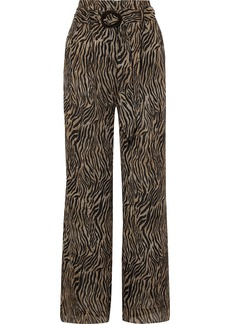 Nanushka Woman Plissé Printed Chiffon Wide-leg Pants Animal Print