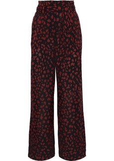 Nanushka Woman Plissé Printed Chiffon Wide-leg Pants Black