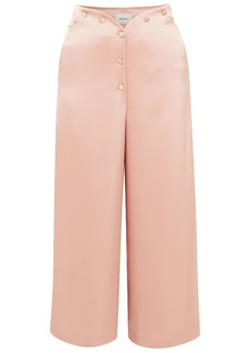 Nanushka Woman Pura Cropped Satin Wide-leg Pants Antique Rose