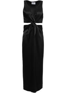 Nanushka Woman Regina Twist-front Cutout Satin Midi Dress Black