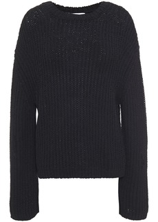 Nanushka Woman Saio Split-back Ribbed Cotton-blend Sweater Black