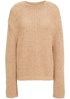 Nanushka Woman Saio Split-back Ribbed Cotton-blend Sweater Neutral