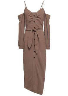 Nanushka Woman Seora Cold-shoulder Gingham Seersucker Midi Dress Light Brown
