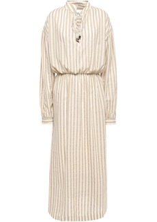 Nanushka Woman Tala Striped Cotton And Linen-blend Midi Dress Beige