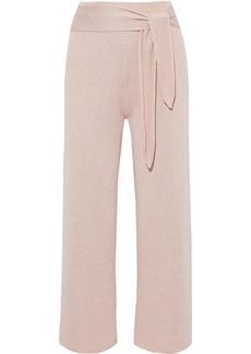 Nanushka Woman Tigre Tie-front Knitted Wide-leg Pants Blush