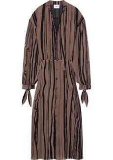 Nanushka Woman Zhara Plissé Striped Chiffon Midi Dress Light Brown