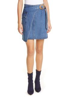 Nanushka Yeva Wrap Front Denim Miniskirt