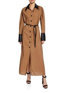 Nanushka Yoon Long Shirt Dress with Vegan Leather Trim