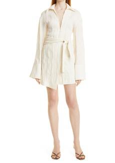 Nanushka Yori Tie Waist Linen & Cotton Blend Tunic