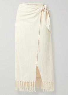 Nanushka Net Sustain Randi Fringed Organic Cotton Wrap Skirt