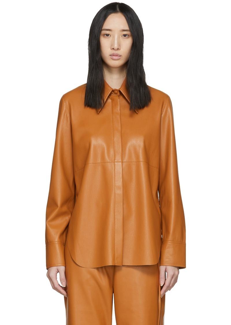 Nanushka Orange Vegan Leather Noelle Shirt