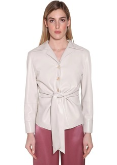 Nanushka Poppy Knotted Faux Leather Shirt