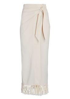 Nanushka Randi Fringed Sarong Midi Skirt