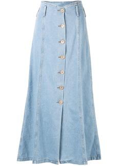 Nanushka Roja A-line denim midi-skirt