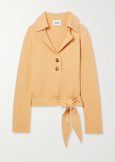 Nanushka Rosalie Open-back Cotton-blend Terry Polo Sweater