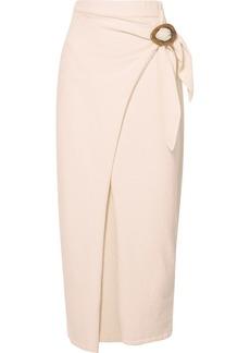 Nanushka Sasha Belted Cotton-blend Terry Midi Wrap Skirt