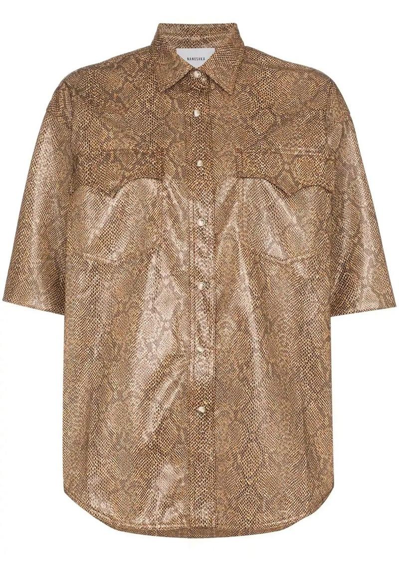 Nanushka Saymore Western snakeskin-print shirt