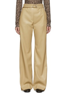 Nanushka Tan Vegan Leather Kisa Trousers