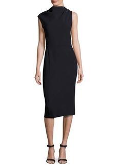 Narciso Rodriguez Asymmetric Cap-Sleeve Slim Dress