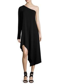 Narciso Rodriguez Asymmetric One-Shoulder Long-Sleeve Dress