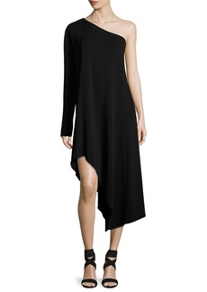 Narciso Rodriguez Asymmetric One-Shoulder Long-Sleeve Dress