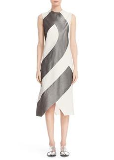 Narciso Rodriguez Asymmetrical Stripe Sheath Dress