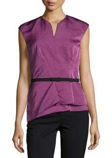 Narciso Rodriguez Belted Modern Peplum Silk Top