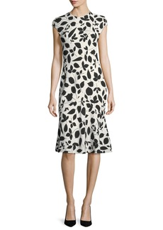 Narciso Rodriguez Cap-Sleeve Leaf-Print Flounce Dress