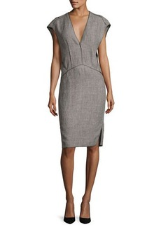 Narciso Rodriguez Cap-Sleeve Linen Sheath Dress with Binding