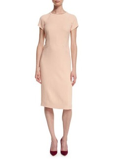 Narciso Rodriguez Cap-Sleeve Round-Neck Crepe Dress